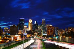 Downtown Minneapolis, Minnesota. At the night time royalty free stock photos