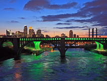 Downtown Minneapolis and Mississippi river Stock Image