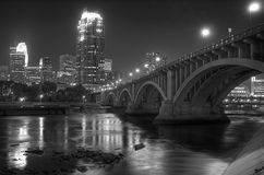 Downtown Minneapolis MN - Black and white Royalty Free Stock Image
