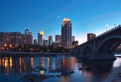 Downtown Minneapolis MN & Moon Stock Photography