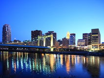Downtown Minneapolis at night. Downtown Minneapolis with reflection in Mississippi river at night Stock Photography