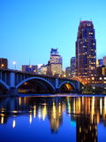 Downtown Minneapolis at night. Downtown Minneapolis reflection in Mississippi river Stock Image