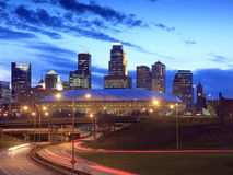 Downtown Minneapolis at night Stock Photo