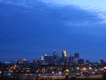Downtown Minneapolis at night Royalty Free Stock Image