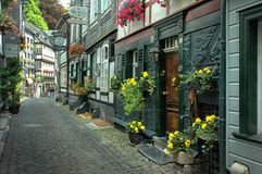 Downtown Monschau, Germany. Monschau (French: Montjoie, Walloon: Mondjoye) is a small resort town in the Eifel region of western Germany, located in the district Royalty Free Stock Photography