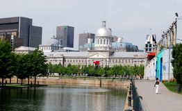 Downtown Montreal. Waterfront in Quebec, Canada stock image