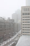 Downtown Montreal Blizzard Stock Images
