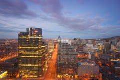 Downtown Montreal at dusk Stock Photos