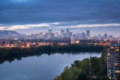 Downtown Montreal at dusk. Unique perspective of Montreal from private property on Nuns` Island Royalty Free Stock Photos