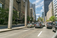 Downtown Montreal street view. Modern Architecture buildings on Robert Bourassa boulevard in downtown Montreal Quebec Canada stock photography