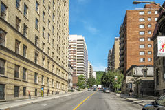 Downtown Montreal street view. Modern and Old Architecture buildings in downtown Montreal Quebec Canada stock image