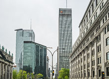 Downtown Montreal street view. View from René Lévesque boulevard, modern and Old Architecture buildings in downtown Montreal Quebec Canada royalty free stock photography