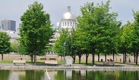 Downtown Montreal Waterfront, and the Bonsecours M Royalty Free Stock Photography