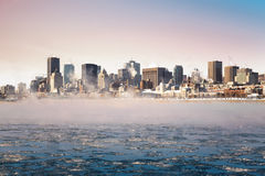 Downtown Montreal in winter Stock Images