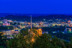 Downtown Morgantown and West Virginia University. The campus of West Virginia University, known as WVU, and downtown Morgantown, West Virginia from above at dusk royalty free stock image
