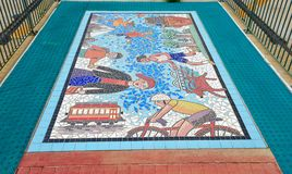 Downtown Mosaic Art-piece  on Trolley Station floor in Memphis, Tennessee. Stock Image
