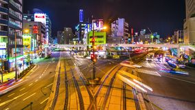 Downtown Nagasaki, Japan. NAGASAKI - DECEMBER 10: Time lapse above Sakuramachi-Dori Street December 10, 2012 in Nagasaki, JP. Though rebuilt, the city is widely