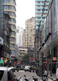 Downtown narrow street of MACAU, the world cultural heritage small island Royalty Free Stock Photos