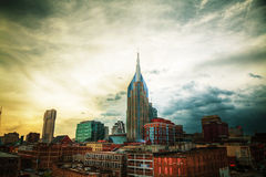 Downtown Nashville cityscape in the evening Royalty Free Stock Photos