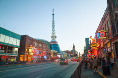 Downtown Nashville with people in the evening Royalty Free Stock Image