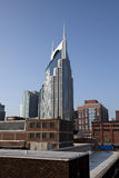 Downtown Nashville, Tennessee. Beautiful towering new office building surrounded by older brick buildings in Nashville, Tennessee Stock Image