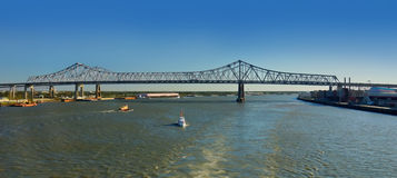 Downtown New Orleans Bridge Over Mississippi River Stock Image