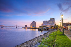 Downtown New Orleans, Louisiana And The Missisippi River Stock Photo