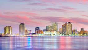 Downtown New Orleans, Louisiana and the Mississippi River at twilight royalty free stock photography