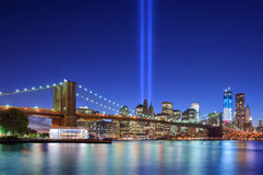 Downtown New York City. Tribute in Light in Downtown New York City in rememberance of the tragedy of 9/11 Stock Photos