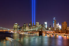 Downtown New York City. Tribute in Light in Downtown New York City in remembrance of the 9/11 attack Royalty Free Stock Photos