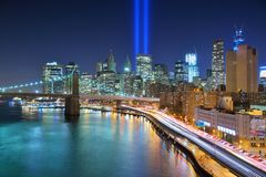 Downtown New York City. Tribute in Light in Downtown New York City in remembrance of the 9/11 attack stock photography
