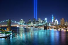 Downtown New York City. Tribute in Light in Downtown New York City in remembrance of the 9/11 attack Royalty Free Stock Image