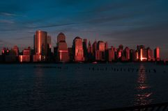 Downtown New York City at Dusk royalty free stock images