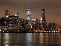 Downtown New York City at Night Royalty Free Stock Photos