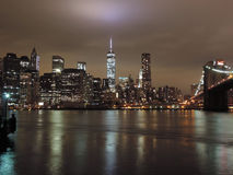 Downtown New York City at Night Royalty Free Stock Photography