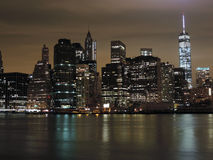 Downtown New York City at Night Royalty Free Stock Photo