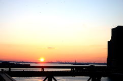 Downtown New York City Skyline. Overlooking the East River and Statue of Liberty in the Distance at Sunset Royalty Free Stock Image