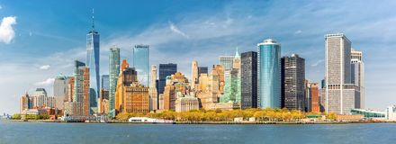 Downtown New York skyline panorama stock photo