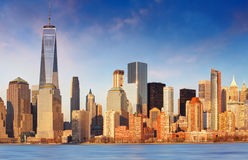 Downtown New York skyline panorama from Liberty State park, USA Royalty Free Stock Photography