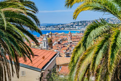 Downtown Nice, France. The city of Nice, France with Old Town, the Alps, and the Mediterranean Sea from Castle Hill Royalty Free Stock Photography