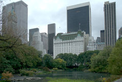 Downtown NYC. A view of the Plaza Hotel from Central Park stock image