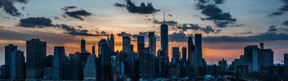 Downtown nyc skyline sunset from brooklyn Stock Images