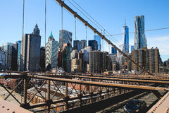 Downtown NYC. View of downtown Manhattan from Brooklyn Bridge Royalty Free Stock Image