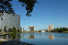 Downtown Oakland across Lake Merritt Stock Photography