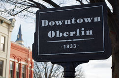 Downtown Oberlin Sign Royalty Free Stock Image