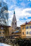 Downtown Of Bressanone With The White Tower, Italy Royalty Free Stock Images