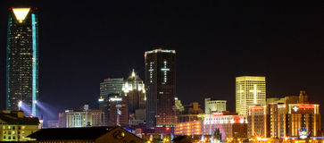 Downtown Oklahoma City at night. With Devon building on left Royalty Free Stock Images