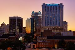 Downtown Orlando, Florida After Sunset royalty free stock photo