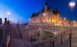 Downtown Ottawa Chateau Laurier. A night view of the staircases next to the national monument and near the Rideau Canal and the Chateau Laurier Hotel in the Royalty Free Stock Image