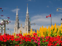 Downtown Ottawa Church with Flowers Stock Photo